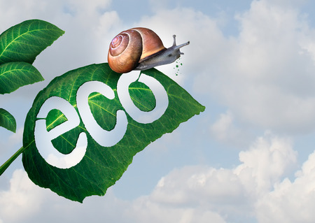 Ecology concept as a snail eating a green leaf and leaving a hole shaped as eco text as an environmental idea for biological ecosystem conservation.