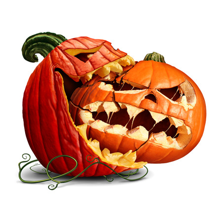 Pumpkin eating icon as a dominant halloween squash taking a bite out of another orange evil jack o lantern or a thanksgiving food symbol with 3D illustration elements.