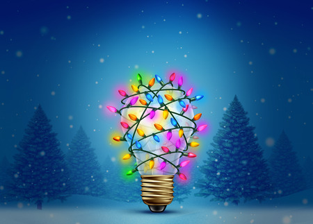 Christmas holiday inspiration as a winter forest background with a lightbulb decorated with bright glowing lights as a creative celebration idea  for the new year festive time as a 3D illustration.