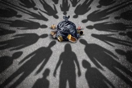 Freiwillige mit Wurf zu helfen als eine Gruppe von hilfreichen Gemeinschaft Freiwillige Menschen Schatten bieten Team Hilfe Müll abholen und reinigen die Straßen der Stadt oder die Sorge um Symbol in einer 3D-Darstellung Stil Littering. Standard-Bild - 64818685