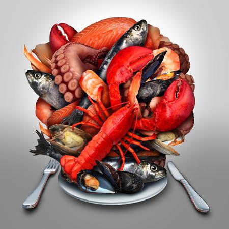 랍스터 찜 조개 홍합 새우 문어와 정어리와 같은 바다에서 신선한 맛있는 식사로 저녁 식사 장소 설정에 함께 그룹화 조개 갑각류와 물고기의 그룹으
