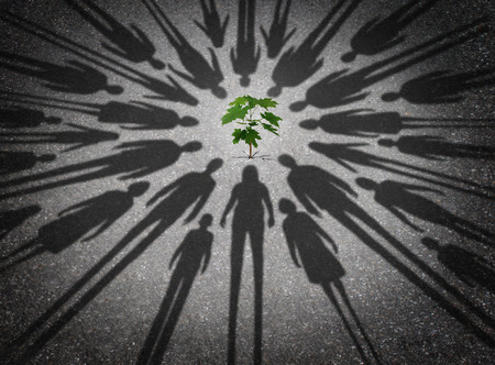 People protecting the environment and humanity joining together to provide safety to a young vulnerable sapling tree as the cast shadows of diverse community members surrounding a green plant in a 3D illustration style.