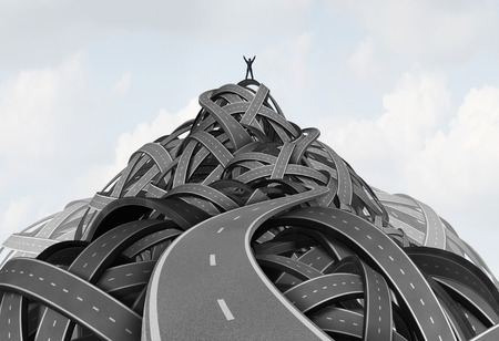 Reaching the peak leadership concept and achieving goals or top of the hill symbol as a businessman standing on the pinnacle of a group of roads shaped as a mountain as an icon for the way to success path with 3D illustration elements.
