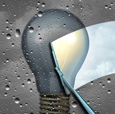 outlook: Positive thinking and eliinating negative outlook as a wiper clearing a cloudy wet window with a grey dark light bulb and a wiper cleaning it to expose a clean bright light as a solution and possibility icon as a 3D illustration.