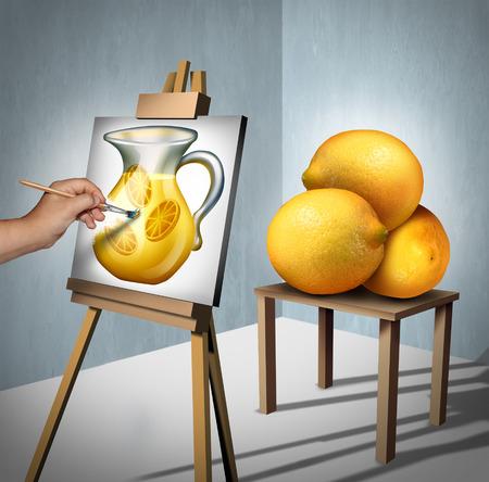 Fare la limonata dai limoni simbolo citazione motivazionale e di ispirazione positiva come persona interpretando un gruppo di frutti di limone come un dipinto di un bicchiere di limonata come concetto fot ottimismo con elementi illustrazione 3D.
