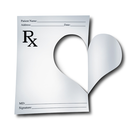 care symbol: Medicine concept for healthcare as a paper medical prescription note that has been cutout in the shape of a heart as a symbol for doctor or pharmacist care with 3D illustration elements.