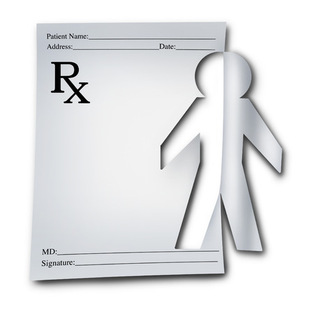 cutout: Human health medical symbol as a prescription note cutout out of the paper shaped as a patient doctor or pharmacist as a medication solution icon with 3D illustration elements on a white background.