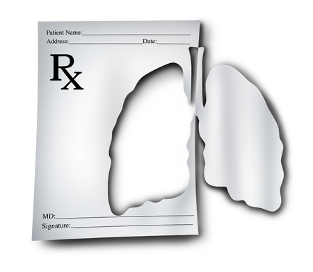 fibrosis: Lung medicine concept as asthma and respiratory medication for human lungs as a doctor prescription paper note that is cutout in the shape of an organ with 3D illustration elements.