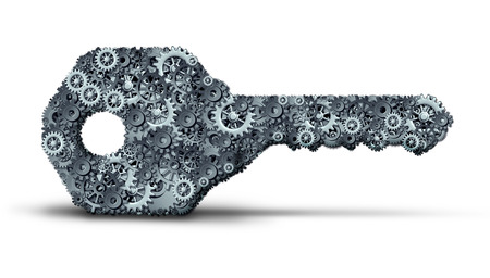 gear symbol: Concept of business key as a security object made of gear and cogs grouped together as an industry success metaphor or entrepreneur start symbol as a 3D illustration on a white background. Stock Photo
