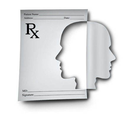 neuroscience: Mental health medication and psychiatric medicine concept as a doctor prescription note shaped as a human head as a medical symbol for brain illness or cognitive disorder with 3D illustration elements.