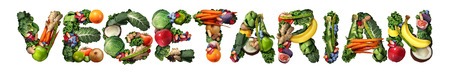 herbivores: Vegetarian vegetarianism and vegan concept or veganism lifestyle icon as a group of fruit vegetables nuts and beans shaped as text isolated on white as healthy diet symbol for eating green biological natural food.