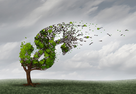 surreal: Financial trouble and money adversity or economic crisis concept as a tree being blown by the wind and damaged or destroyed by the force of a storm as a business crisis metaphor with 3D illustration elements.