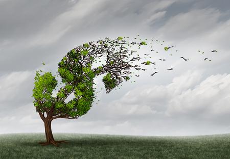 crisis economica: problemas financieros y la adversidad de dinero o el concepto de crisis económica como el árbol está soplados por el viento y dañados o destruidos por la fuerza de una tormenta como una metáfora crisis empresarial con elementos de ilustración 3D.