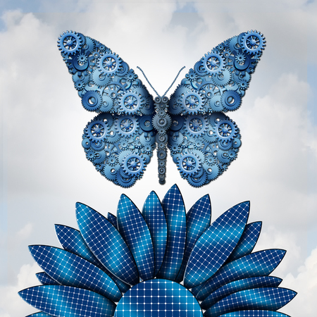 Solar energy industry and alternative fuel from the sun as a butterfly shaped with machine gears flyinfg over a flower made of solar panel cells as a clean energy symbol for renewable sustainable electricity with 3D illustration elements. Stock Photo