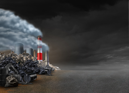 Pollution background and power plant emitting polluted air with smokestacks and toxic garbage in an urban setting with blank text area as an environmental symbol with 3D illustration elements.
