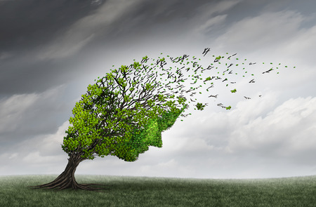 winds: Psychological trouble and mental health adversity crisis as a tree shaped as a human head being torn or stressed by strong winds as a psychiatry or psychology icon with 3D illustration elements.