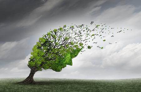 Psychologische Probleme und psychische Gesundheit Widrigkeiten Krise als ein Baum wie ein menschlicher Kopf geformt ist, durch starke Winde als Psychiatrie oder Psychologie-Symbol mit 3D-Darstellung Elemente zerrissen oder gestresst. Standard-Bild