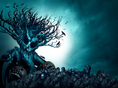 Halloween creepy background haunted ghost tree at night as an old growth plant shaped as a monster skull with pumpkins and spiders as a scary blue autumn cemetery scenery as a horror theme with 3D illustration elements. Stock Photo