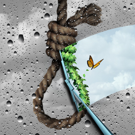 wiper: Concept of suicide prevention psychology therapy and psychiatrist or psychologist treatment to stop depressed suicidal people from ending thier lives as a wiper clearing a negative cloudy noose revealing bright positive future with 3D illustration element