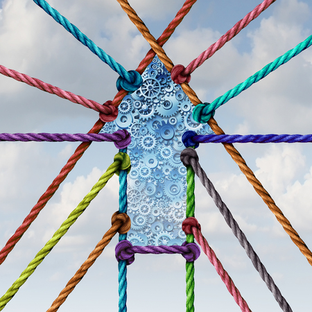 stronger: Working together business unity success arrow connection and central network achievement with a group of diverse ropes connected to a center with gears and cogs with 3D illustration elements.