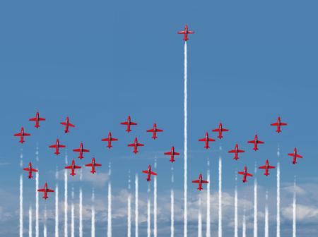 Concepto completo del negocio por delante de vapor como un grupo de la demostración de aire los aviones de reacción con la mayor parte de la aeronave perder energía y la pérdida de intensidad, mientras que una persona que gana energía está lleno de poder con elementos de ilustración 3D. Foto de archivo - 63055418
