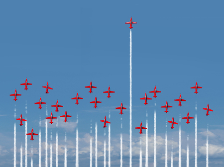 Full steam ahead business concept as a group of air show jet airplanes with most of the aircraft losing energy and losing intensity while one energetic winning individual is full of power with 3D illustration elements. Stock Photo