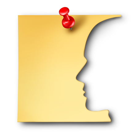 tack: Office worker reminder as an employee symbol cut out of a business note as a corporate career thinking symbol or a mental health icon for memory loss or medical neurology issues as a 3D illustration.