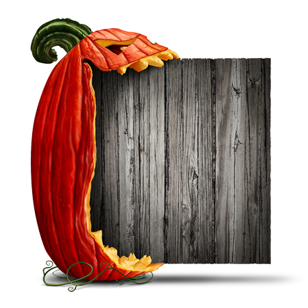 angry vegetable: Jack O Lantern Halloween blank sign as a side view pumpkin character biting into an old wood banner as an advertising and seasonal marketing message with a scary expression on a white background with 3D illustration elements.