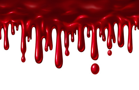 Blood liquid dripping down as a red splatter with drops falling down as a halloween element or symbol of violence and terror isolated on a white background in a 3D illustration style. Stock Photo