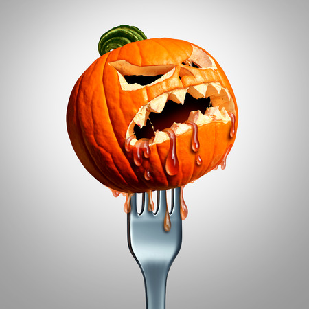 harvest time: Halloween thanksgiving food symbol as a pumpkin jack o lantern with a fork through it as an autumn seasonal meal or harvest time snack concept with 3D illustration elements.