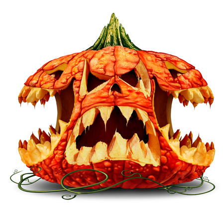 Scary Halloween pumpkin character group and creepy jack o lantern creature with multiple heads on a white background as a symbol for fall and autumn festive communication with 3D illustration elements.