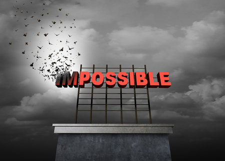 Possible positive thinking concept as a success motivational symbol as text with the word impossible being transformed by birds on a sign to create the possibility word as a metaphor to achieve as a 3D illustration.