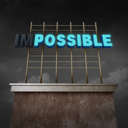 determined: Impossible to possible concept as an illuminated billboard text sign with two letters with lights off as a success metaphor for possibilities and positive success thinking as a 3D illustration. Stock Photo