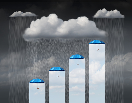 defence: Protection increase as a business concept and weather infochart or infographic as a cloud with rain falling down and a group of umbrellas providing a rise and gain in safety and shelter with 3D illustration elements.