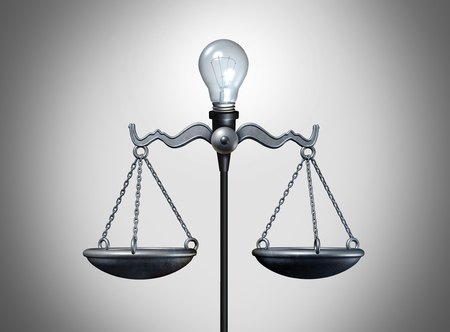tribunal: Legal idea and smart intelligent law strategy concept as an illuminated lightbulb balancing a justice scale as a bright lawyer or attorney icon for legislation or verdict success as a 3D illustration. Stock Photo