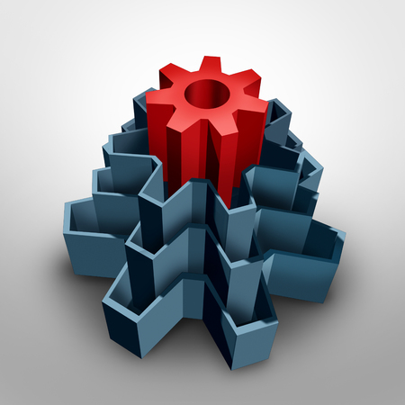 focal: Core business solution concept as an inner center red gear inside a group of larger cog shapes as a corporate foundation symbol for fundamental values and infrastructure as a 3D illustration.