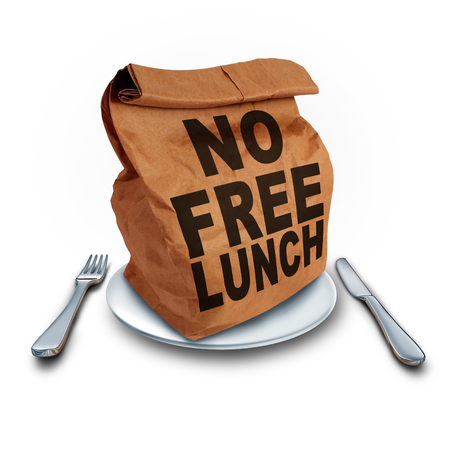No Free Lunch business concept as a financial entitlement benefit symbol for not getting something for nothing as a bag with text with 3D illustration elements on a white background.