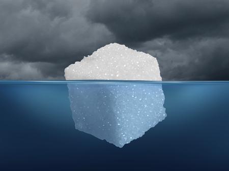 Ryzyko Cukier i ukryte niebezpieczeństwa diety medycznej koncepcji jako góry lodowej wykonane z kostki cukru, jak ryzykowne słodkie granulowany rafinowany słodzik jako metafora bazowego zagrożenia cukrzycy lub niezdrowej diety przyzwyczajenia w stylu ilustracji 3D.