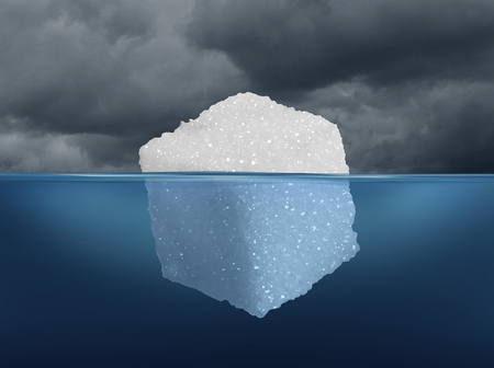 hidden danger: Sugar risk and hidden dietary medical danger concept as an iceberg made from a sugar cube as risky sweet granulated refined sweetener as a metaphor for the underlying hazard of diabetes or unhealthy diet habit in a 3D illustration style.
