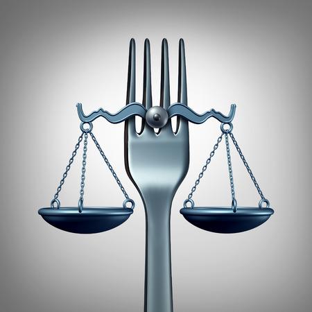 violación: La legislación alimentaria y las regulaciones legales concepto con un tenedor de cocina en forma de una escala de la justicia como un símbolo para la inspección de la nutrición o comer legislación normas como una ilustración 3D. Foto de archivo