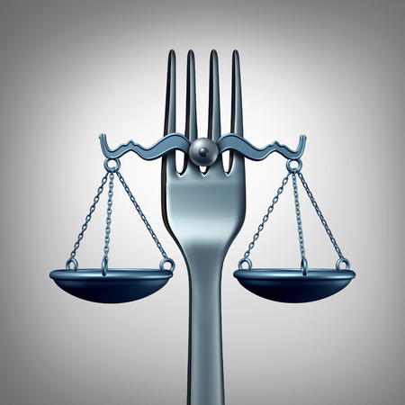 Food law and legal regulations concept with a kitchen fork shaped as a scale of justice as a symbol for nutrition inspection or eating legislation rules as a 3D illustration. Stockfoto