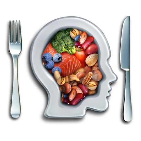 nutrientes: alimento para el cerebro para aumentar la capacidad intelectual concepto de nutrición como un grupo de vegetales nutritivos frutos secos de pescado y frutos ricos en ácidos grasos omega-3 con vitaminas y minerales para la salud mental con elementos de ilustración 3D. Foto de archivo
