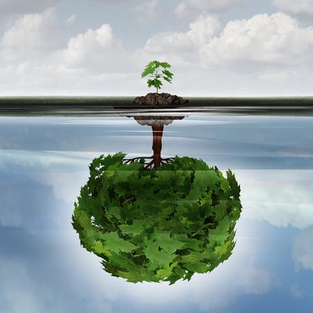 el concepto de éxito potencial como un símbolo para la idea de la filosofía aspiración y el crecimiento determinado icono de la motivación como un pequeño sappling joven que hace una reflexión de un gran árbol maduro en el agua con elementos de ilustración 3D. Foto de archivo