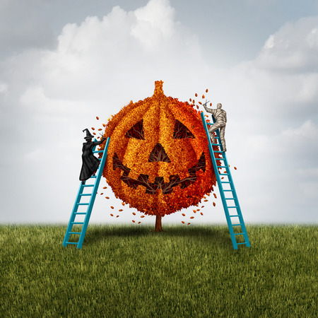 Pumpkin tree concept with a witch and mummy monster trimming an orange jack o lantern plant as a halloween celebration symbol for a festive autumn tradition with 3D illustration elements.
