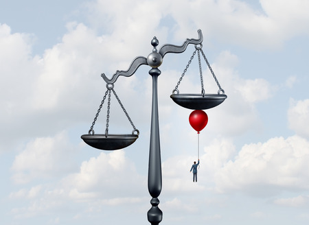 surreal: Tipping the scales of justice concept as a justice court scale being moved and influenced by a businessman or lawyer with a balloon moving the balance in his favor with 3D illustration elements.