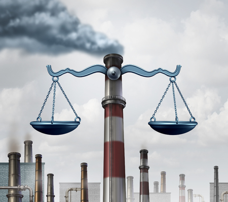 Environmental law symbol as an industrial smoke stack shaped as a justice scale as a metaphor for pollution regulations and clean air legislation with 3D illustration elements.