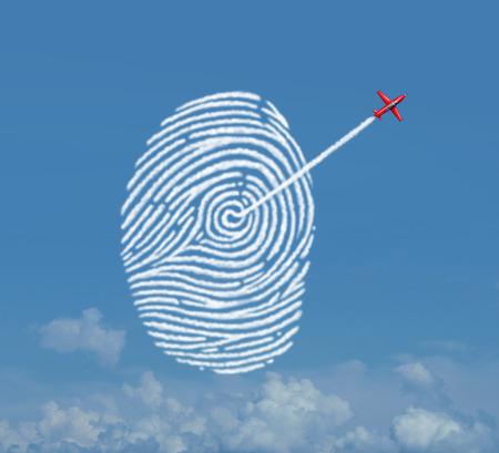 航空ショー: 煙トレイル 3 D 図の要素を持つパスワード暗号化アクセス保護の雲のデータ ストレージのメタファーとして指紋または拇印のシンボルとして形を作