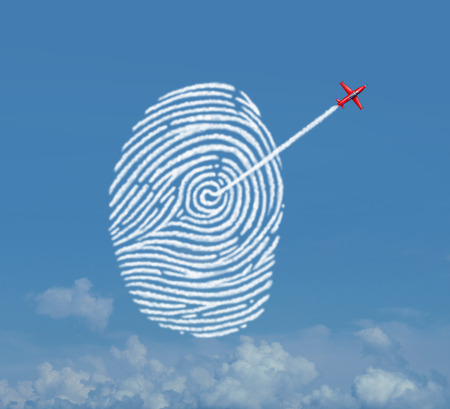 surreal: Identity security concept as an acrobatic jet airplane making a smoke trail shaped as a fingerprint or thumbprint symbol as a cloud data storage metaphor for password encryption access protection with 3D illustration elements. Stock Photo