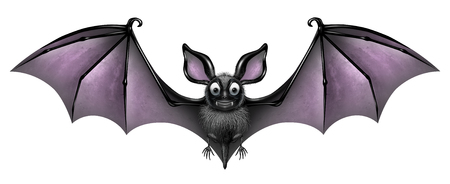 webbed: Bat isolated on a white background as a creepy and cute flying webbed winged smiling mammal as a spooky vampire horror symbol or halloween celebration icon with 3D illustration elements.