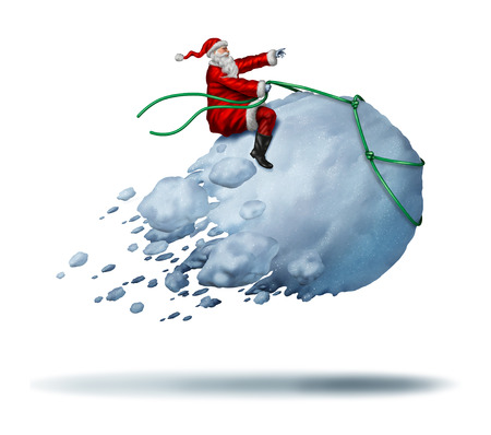 pere noel: Santa Clause Snow Fun comme le père noël à cheval une boule de neige géante voler comme une activité joyeuse heureux hiver célébration avec des éléments d'illustration 3D sur un fond blanc.